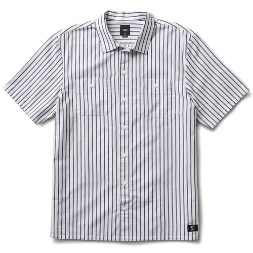 Camisa Manga Corta Rowan Workwear Stripe White-Dress Blues